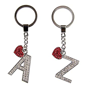 SKS Diamante Alphabet Letter and Red Crystal Heart Keyring (Z)