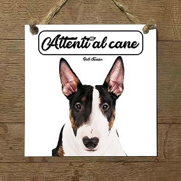 Bull Terrier Mod 2 cuidado con el Perro matrícula azulejo ...