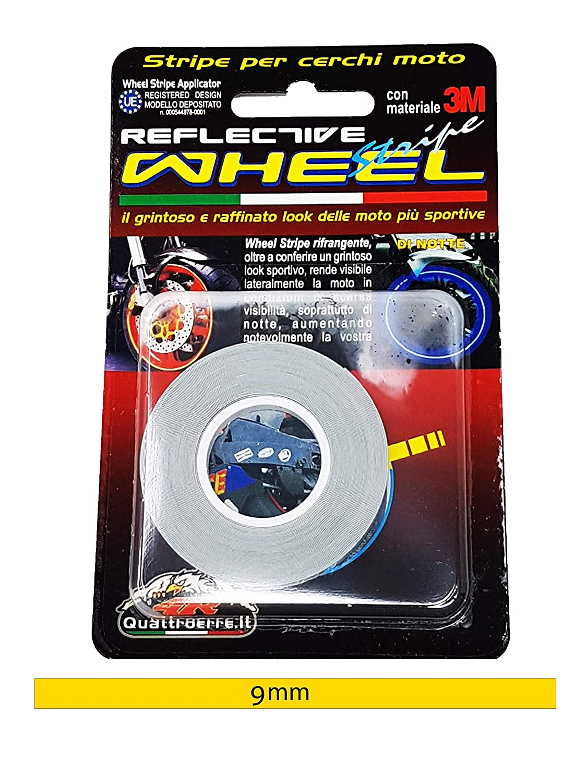 9 mm x 6 mt Quattroerre 10272 Wheel Stripes Rifrangenti per Cerchi Moto Rosso