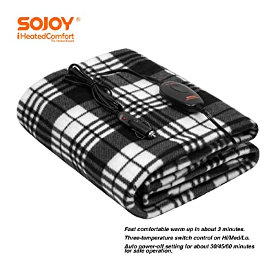 "Sojoy 12V Heated Smart Multifunctional Travel Electric Blanket for Car, Truck, Boats or RV with High/Low Temp Control (60""x 40"") (Checkered Black & White): Home & Kitchen"