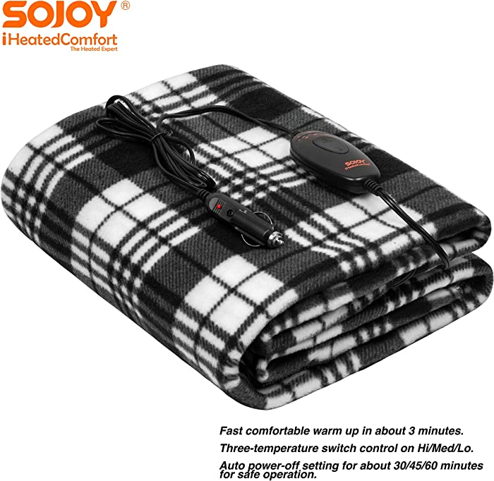 "Sojoy 12V Heated Smart Multifunctional Travel Electric Blanket for Car, Truck, Boats or RV with High/Low Temp Control (60""x 40"") (Checkered Black & White)"