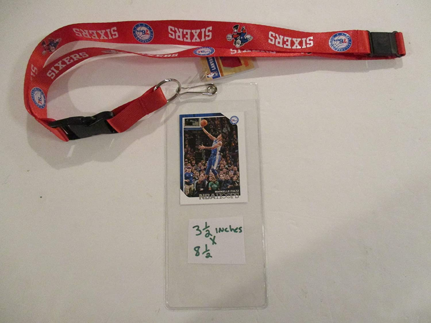 PHILADELPHIA 76ERS RED LANYARD WITH TICKET HOLDER PLUS COLLECTIBLE PLAYER CARD