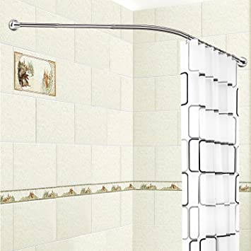 Amazon.com: Stretchable L Shaped Bathtub Corner Shower Curtain Rod ...