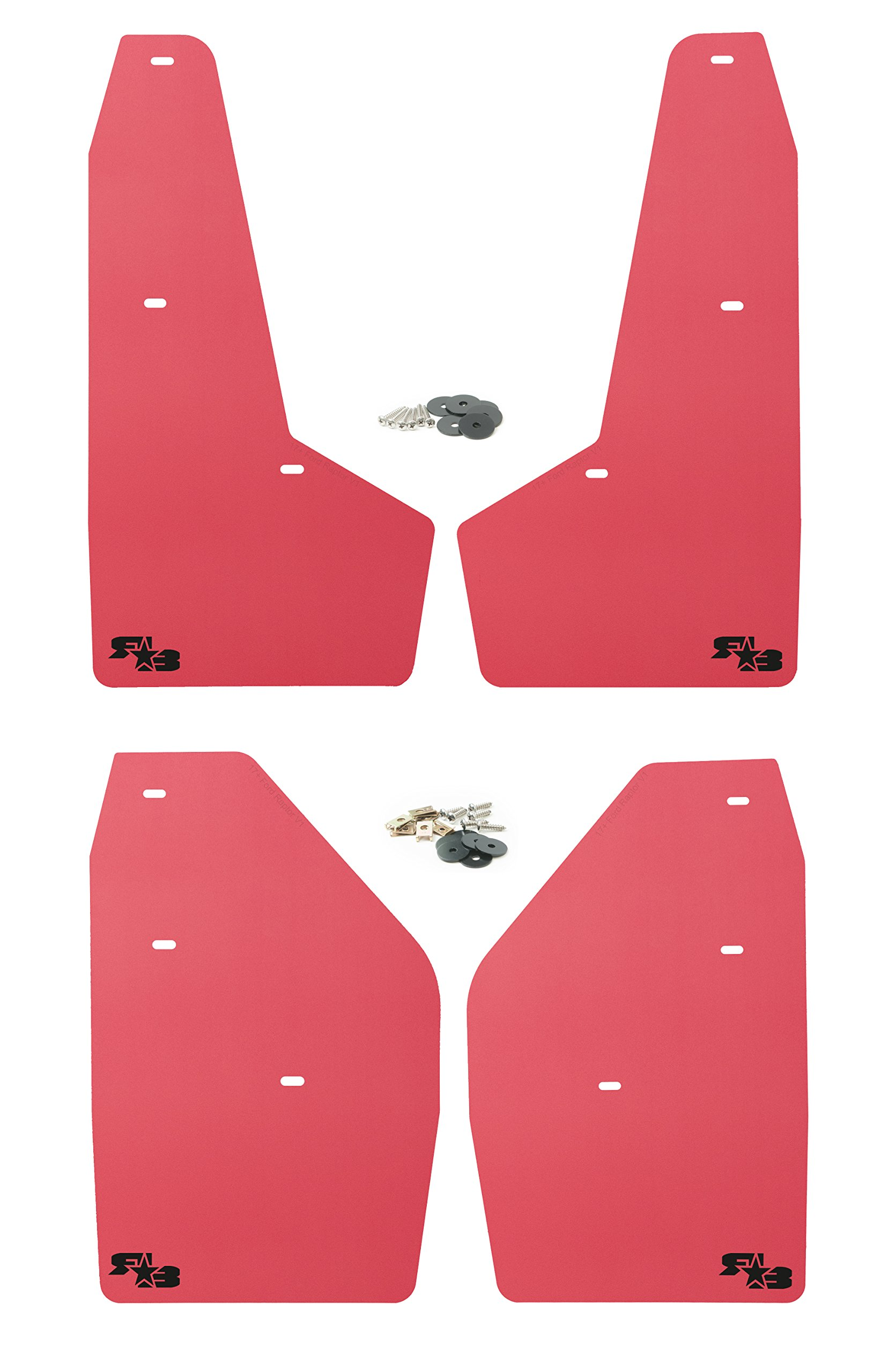 RokBlokz Mud Flaps for 2017+ Ford Raptor - Set of 4 - Multiple Colors Available - Includes All Mounting Hardware (Red with Black Logo)
