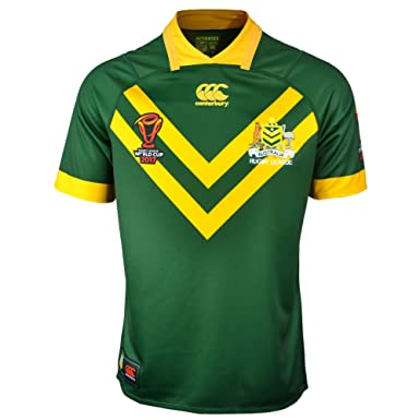 addf1f67e5b Australia Kangaroos RLWC 2017 Home Pro S/S Rugby League Shirt - Centenary  Green: Amazon.co.uk: Clothing
