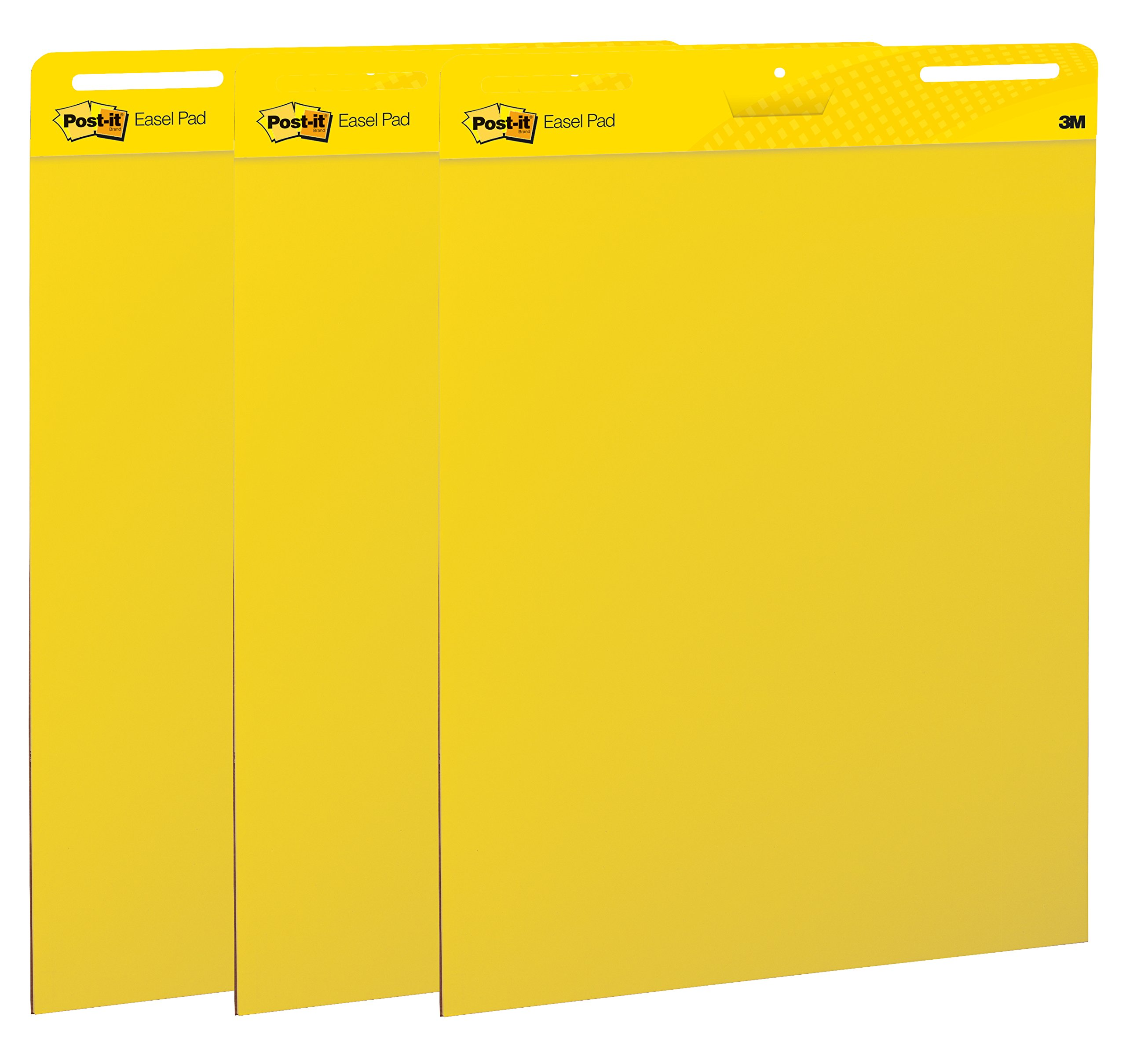 Post-it Super Sticky Easel Pad, 25 x 30 Inches, 25 Sheets/Pad, 3 Pads (559YW-3PK), Large Bright Yellow Premium Self Stick Flip Chart Paper, Super Sticking Power