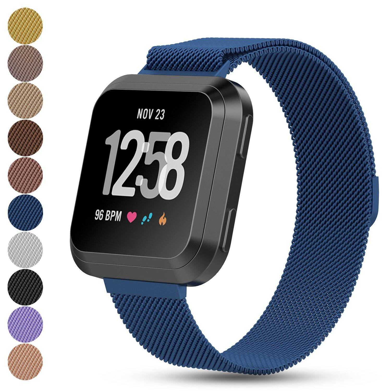 feskio Fitbit Versaスマートウォッチ交換バンド、マグネットロックMilanese Loopステンレススチールブレスレット手首ストラップウォッチバンドfor FitbitユニセックスVersa Health and Fitness Smartwatch B07BQN7JRC Small|ブルー ブルー Small