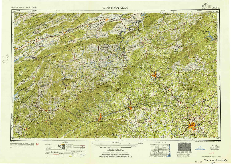 Amazon.com : YellowMaps Winston Salem NC topo map, 1:250000 ...