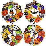 12 Sets Halloween Wreath Decorations Foam Halloween Wreath Signs Craft Kit Foam Pumpkins Jack-O`-Lantern Owl Ghost Witch Bats