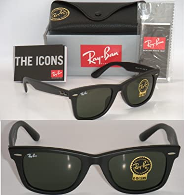 63e17705cb Amazon.com  Ray Ban ORIGINAL WAYFARER ASIAN FIT RB 2140F 901S 52mm MATTE  BLACK GREEN G-15XLT  Shoes