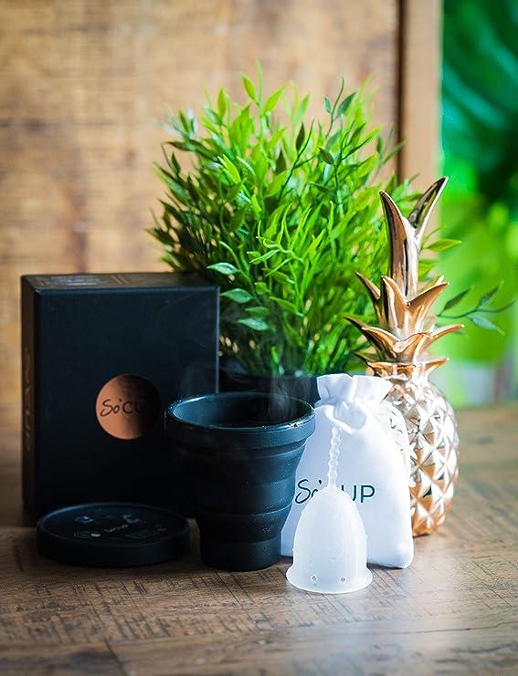 SO CUP Esterilizador Plegable para Copa Menstrual 3 en 1 - Con o Sin Microondas 100% Silicona de Grado Alimenticio - Talla Grande Adecuada para TODO ...