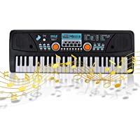Digital Electronic Musical Keyboard - Kids Learning Keyboard 49 Keys Portable Electric Piano w/ Drum Pad, Recording…