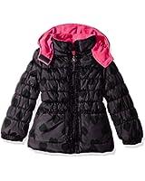 Pink Platinum Girls' Tonal Heart Print Puffer Jacket