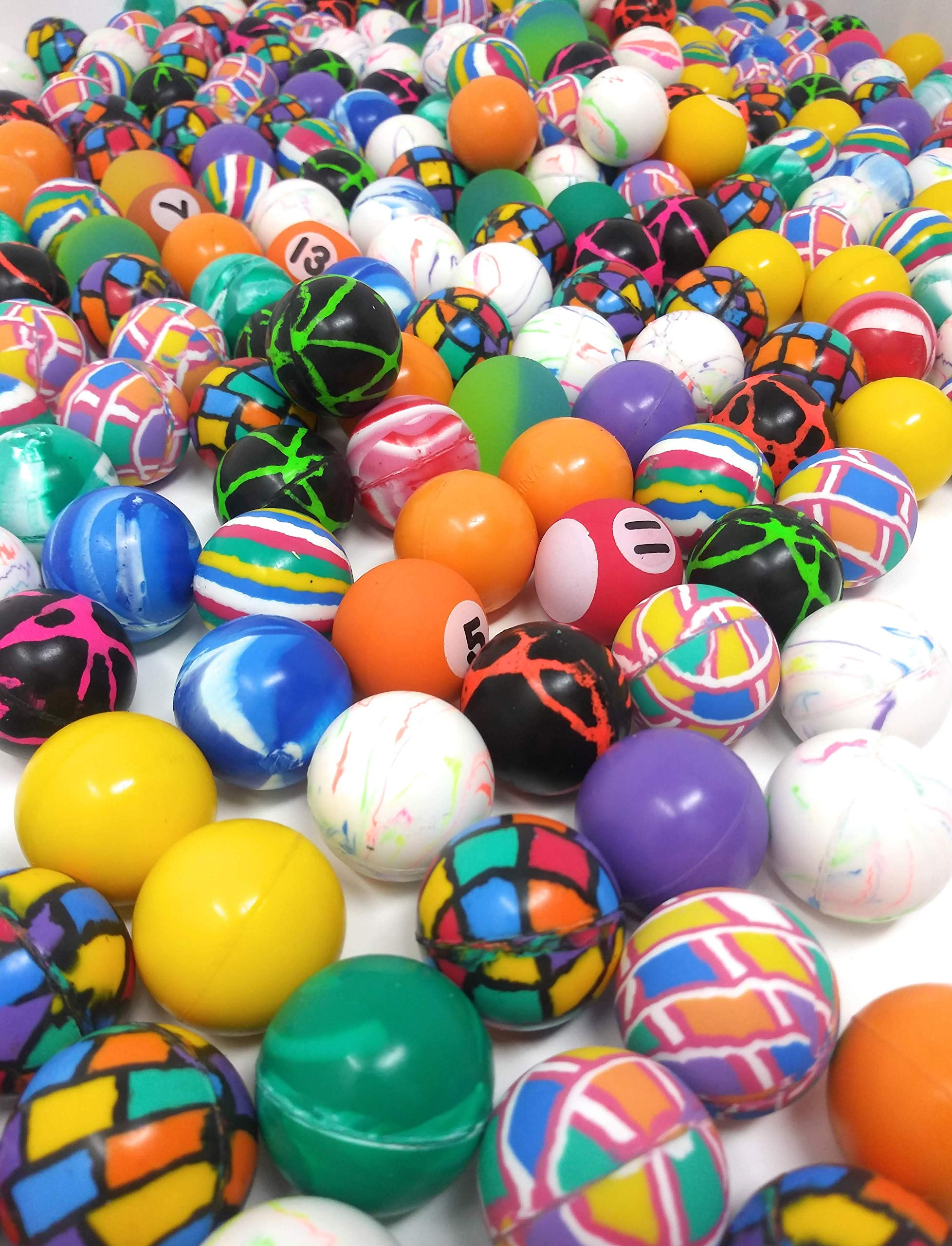 4E's Novelty Mega Bulk Assortment of 250 Bouncy Super Balls Mix for Kids, High Bouncing Swirl Rubber Balls, Great Bounce Party Favor Toys, Carnival Fun Prizes, for Boys and Girls 1'' by 4E's Novelty (Image #3)