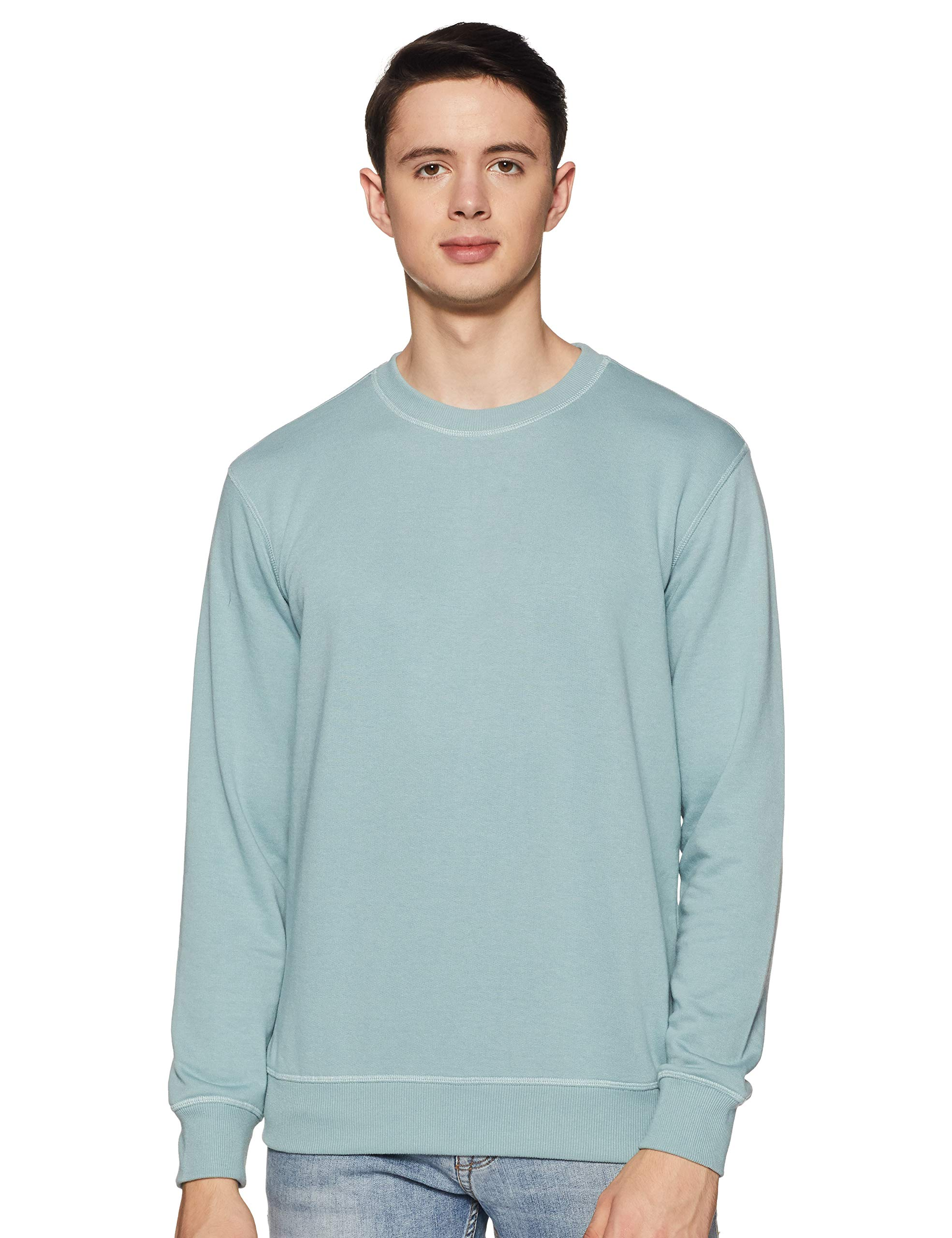 Amazon Brand - Symbol Men's Regular fit Solid Sweatshirt (AW18MNSSW01_Blue Haze_M) (B07TQM98GF) Amazon Price History, Amazon Price Tracker