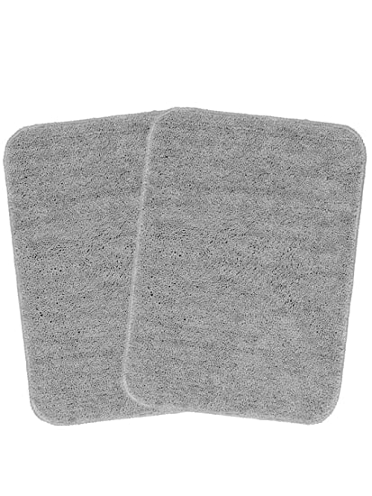 Saral Home Microfiber Anti Slip Bathmat Set of 2 Pc- 35x50 cm, Grey