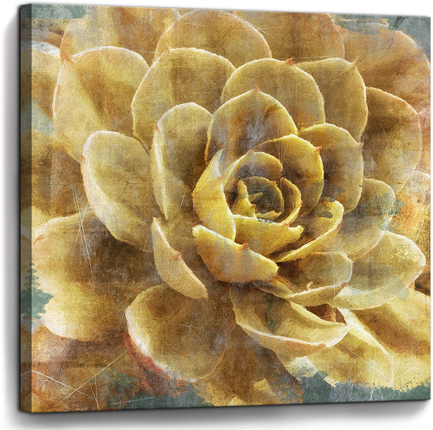 Bathroom Wall Art Vintage Yellow Flowers Pictures Canvas Artwork Framed Wall Decor for Bedroom Kitchen Office Modern Home Plant Prints Paintings Decorations Size 14x14 inches Ready to Hang