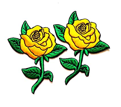 339b2ae210d46 Nipitshop Patches Golden Yellow Rose Tattoo Biker Love Retro Embroidered  Applique Iron-on Patch for