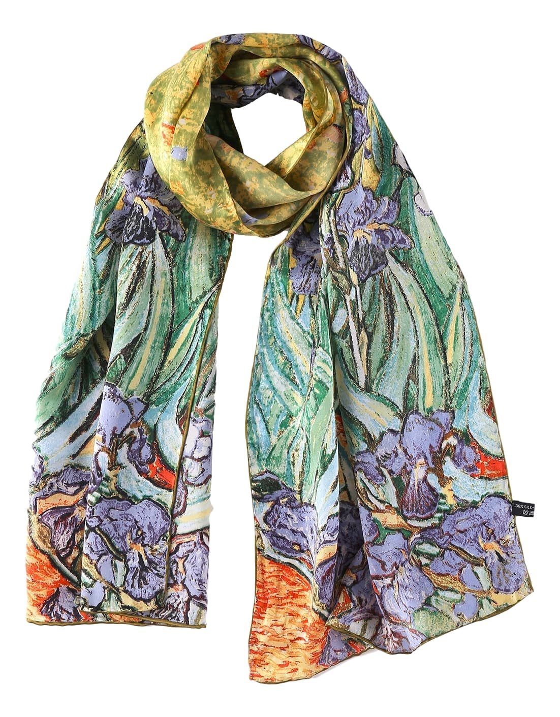 Women's Long Charmeuse Silk Scarf Classic Art Print (Blue Irises by Van Gogh) by Yangtze Store