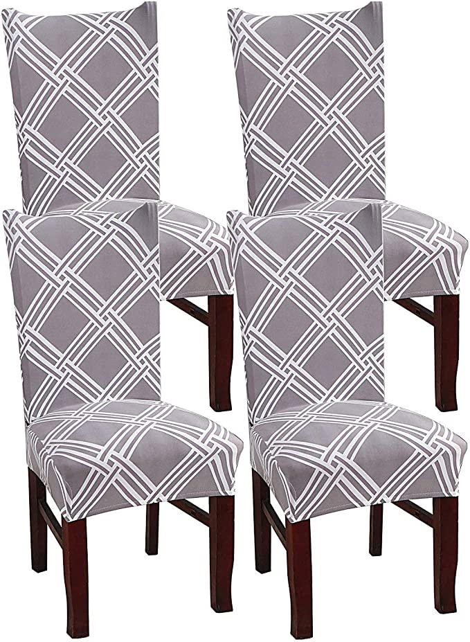 simpletome Stretch Chair Protector Cover Slipcovers Removable Washable Multicolor 4pcs (Net)
