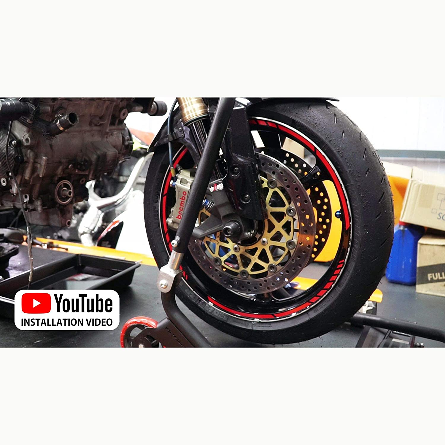 Black Autodomy Stickers Motorcycle Wheel Rims Complete Set for 2 Wheels from 15 to 19 Inches Sport Design