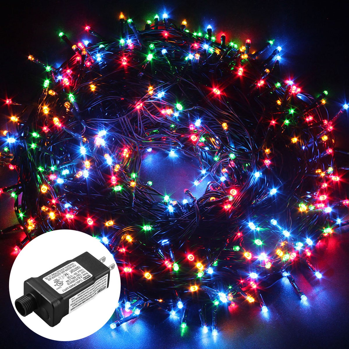 Excelvan Safe Low Voltage 500 LEDs 100M/328FT Dimmable Fairy String Lights with 8 Modes for Bedroom Patio Garden Gate Yard Party Wedding Christmas Decoration, Multi Color