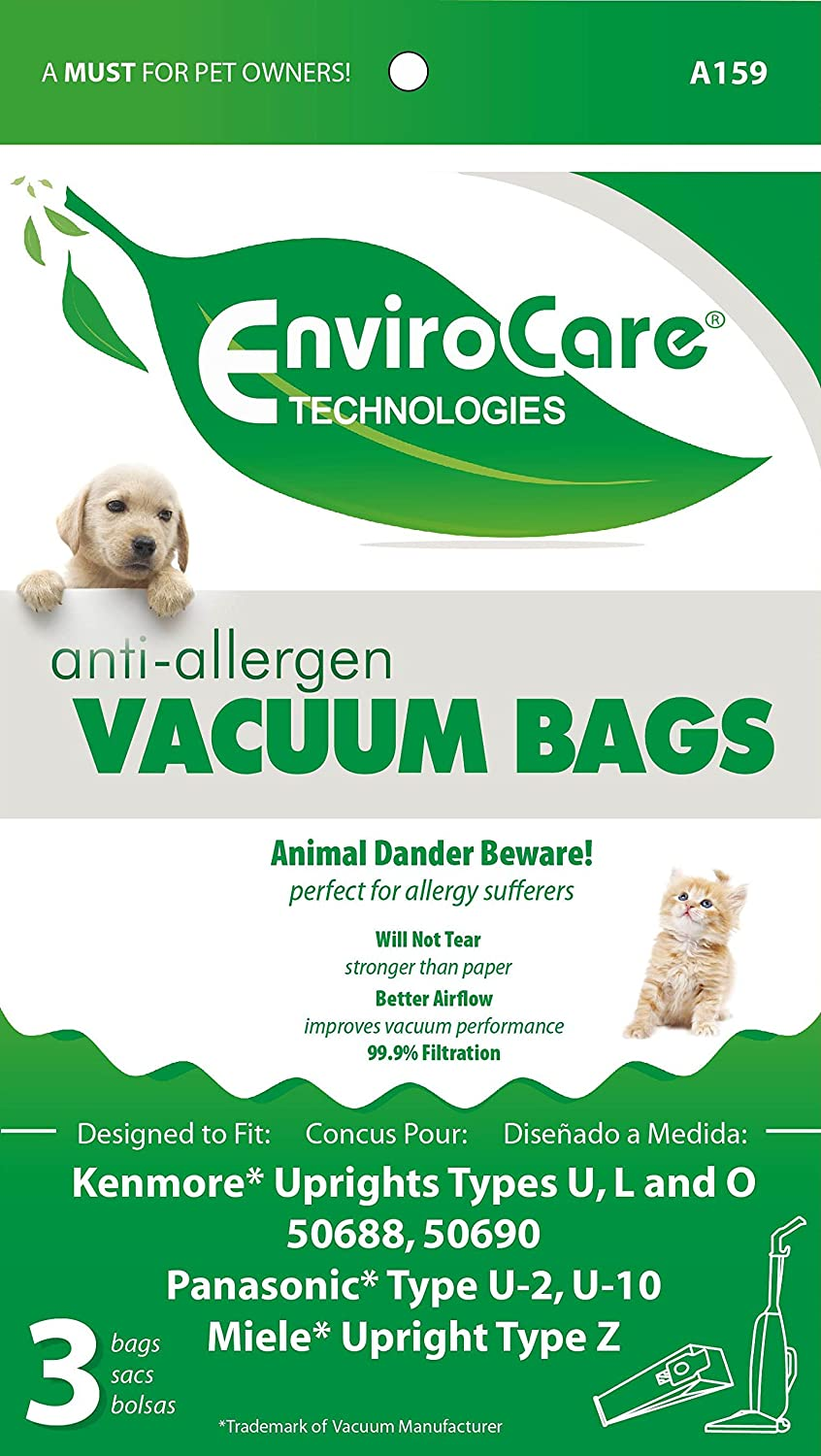 L Panasonic Type U-2 EnviroCare Replacement Anti-Allergen Vacuum Bags for Kenmore 50688 and 50690 Type U and O U-10 Uprights 3 Pack A159