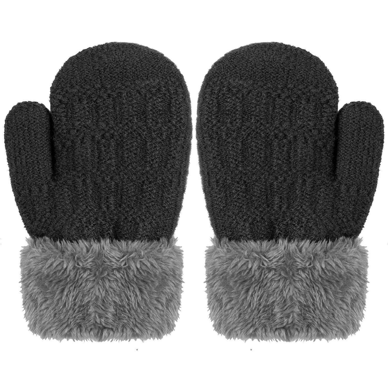 Toddlers Kids Boys Girls Warm Winter Gloves Mittens Fleece Lining Snowflake Gloves