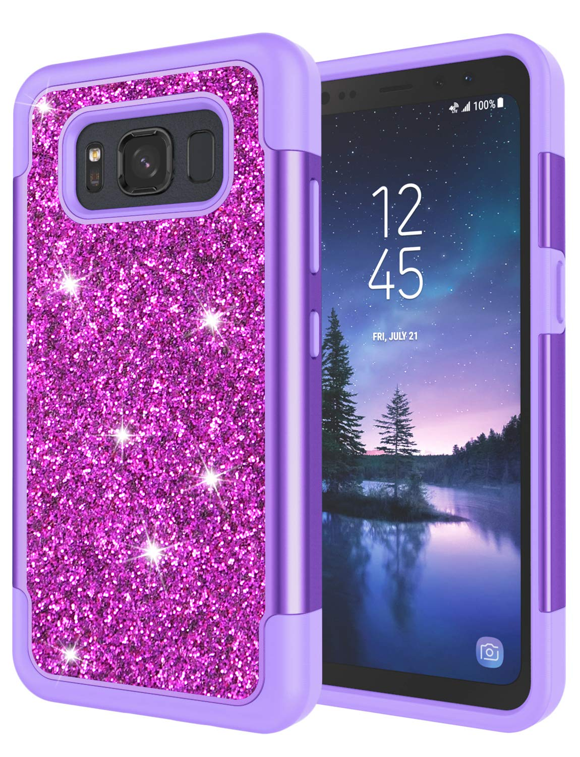 Galaxy S8 Active Case, S8 Active Case for Grils, Jeylly Glitter Luxury Crystal Dual Layer Shockproof Hard PC Soft TPU Inner Protector Case Cover for ...