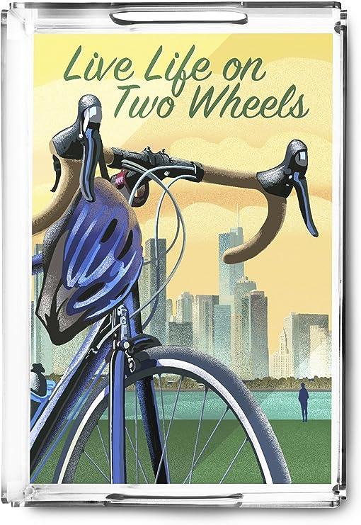 Vivir la vida en dos ruedas – bicicleta y ciudad Litografía estilo ...