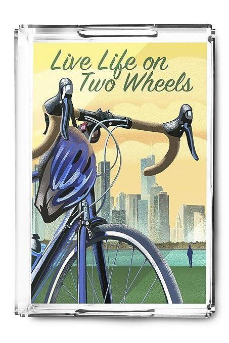 Vivir la vida en dos ruedas - bicicleta y ciudad Litografía estilo bandeja para servir (