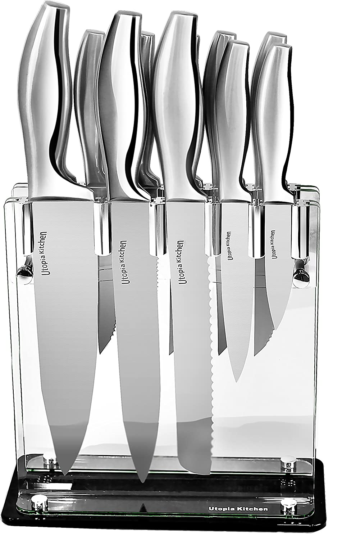amazon com utopia kitchen 430 grade stainless steel knives set amazon com utopia kitchen 430 grade stainless steel knives set 11 knives plus acrylic stand 8