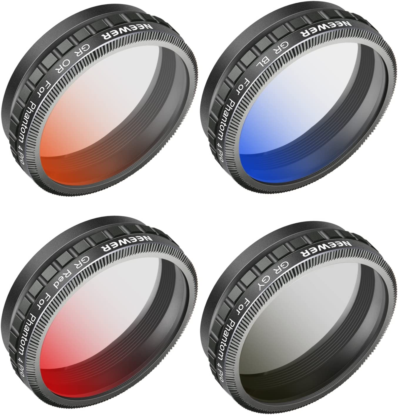 Neewer Camera Lens Graduated Color Filter Kit for DJI Phantom 4 Pro Drone Quadcopter: Graduated Orange Blue Grey Filter Red Made of HD Optical Glass and Aluminum Alloy Frame