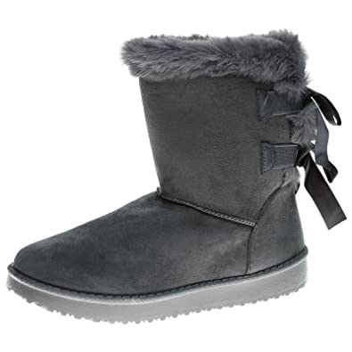 661c7519841 Feet First Fashion Remy Womens Flat Faux Fur Lined Bow Detail Ankle Boots
