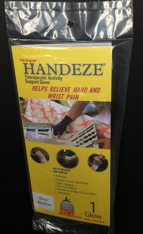 DOME Handeze Therapeutic Gloves, Black, Medium, Size 4 black. 13704