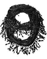 Falari Women Lace Infinity Loop Scarf With Fringes Polyester