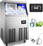 110V Commercial Ice Maker 88LBS/24H Stainless Steel Commercial Ice Machine with