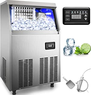 110V Commercial Ice Maker 88LBS/24H Stainless Steel Commercial Ice Machine with 33lbs Storage Capacity Industrial Ice Maker Machine Auto Clean for Bar Home Supermarkets