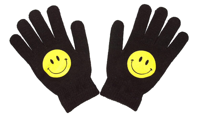 Knit Stretch Black Magic Emoji Face Gloves Kids Emoji Character Winter Gloves