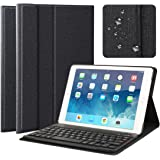 """iPad Pro 9.7 / New iPad 9.7"""" 2017 / iPad Air / iPad Air 2 Keyboard Case, Multi-Angle Viewing Folio Stand Case Cover with Removable Wireless Bluetooth Keyboard for Apple iPad 2017 iPad Air 1 2 - Black"""