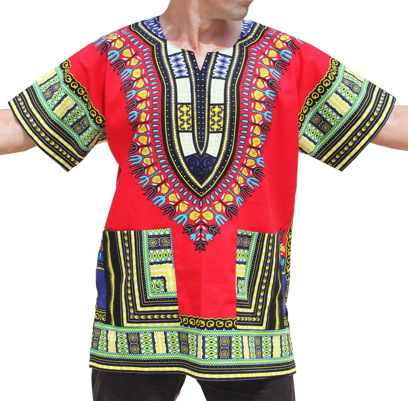 RaanPahMuang Unisex African Bright Dashiki Cotton Shirt Variety Colors #20,LT RED, L