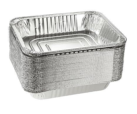Papel de aluminio sartenes – Profundidad de 30 piezas fundas desechables mesa de vapor Sartenes para