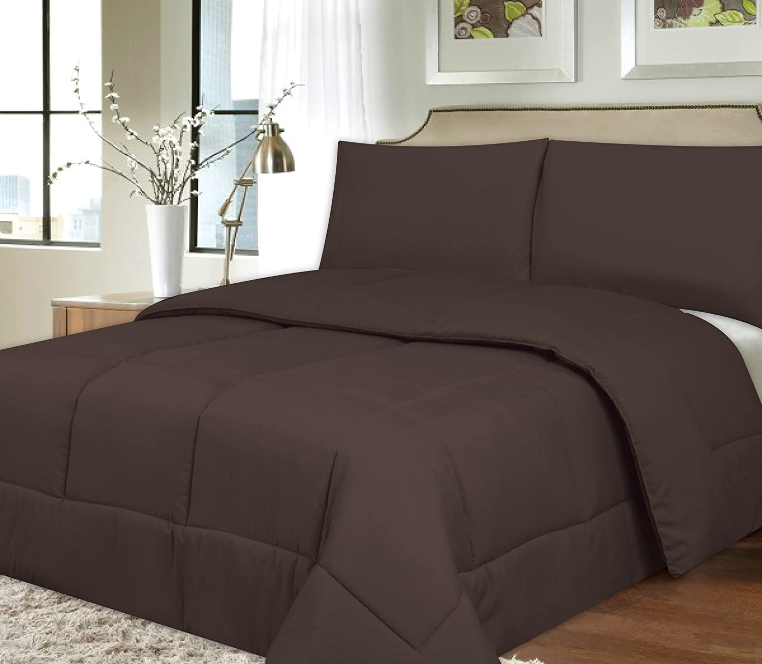 Polyester Comforter Box Stitch Microfiber Bedding - Queen, Brown