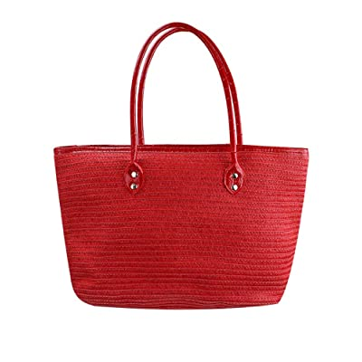 Red Long Handle Straw Beach Tote Bag
