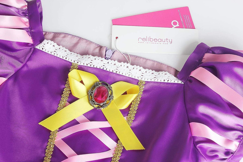 ReliBeauty Manica a Sbuffo Principessa Vestito Rapunzel Bambine e Ragazze Costume