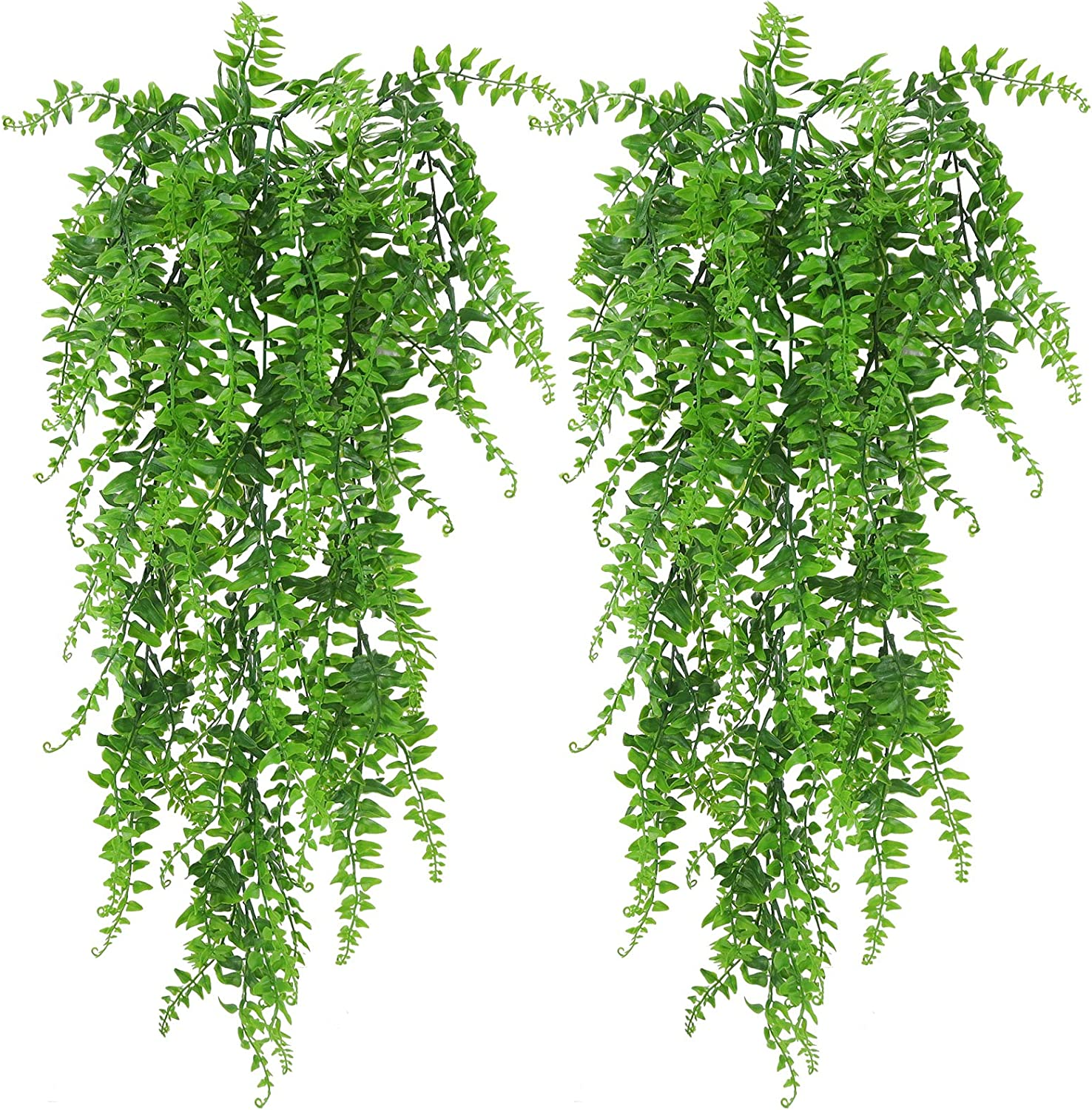 Artificial Hanging Plants Fake Vines Greenery Faux Ivy Leaves for Wall Home Room Garden Wedding Garland Outside Decoration (2Pack Boston Ferns)