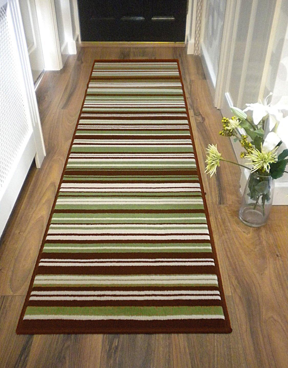 Large Modern Stripe Rug Green Brown Runner 60 cm x 220 cm (2'x 3 '4