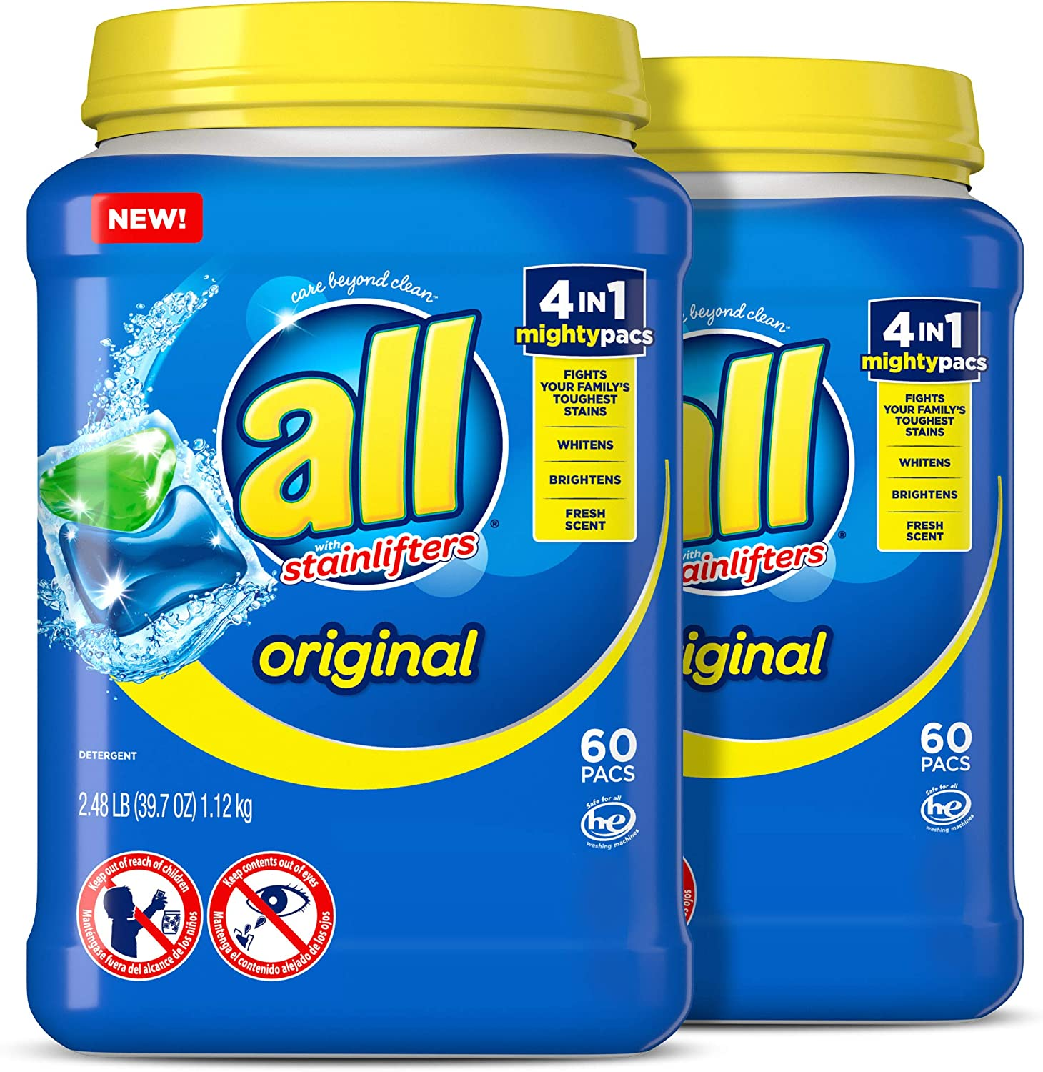 all Mighty Pacs Laundry Detergent, 4 in 1 Stainlifter, Tub, 60 Count, Pack of 2, 120 Total Loads