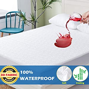 Cooling King Size Mattress Protector with 3D Air Fabric Mattress Cover, Luxry Bamboo Waterproof Mattress Protector,Ultra Soft Breathable Mattress Pad Cover - Hypoallergenic Mattress Protector