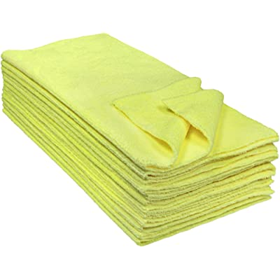 Eurow Microfiber Ultrasonic Cut Cleaning Towels 14 x 14in 300 GSM Yellow 12-Pack: Automotive